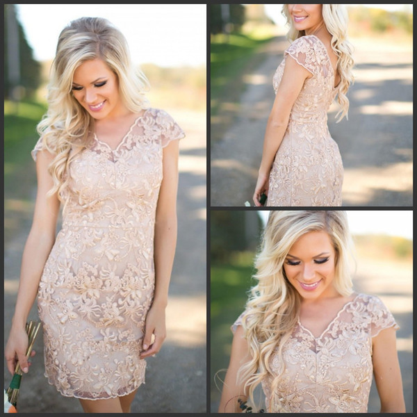 Cheap Country   Bridesmaid     Dresses   V Neck Full Lace Short Sleeves Champagne Sheath Wedding Guest Wear Party   Dresses   Maid of Honor