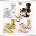 Boy and girl baby  shoes rendas Bonito moda manga sapatos decom botas de sola macia sapatilha crianca primeiros caminhantes