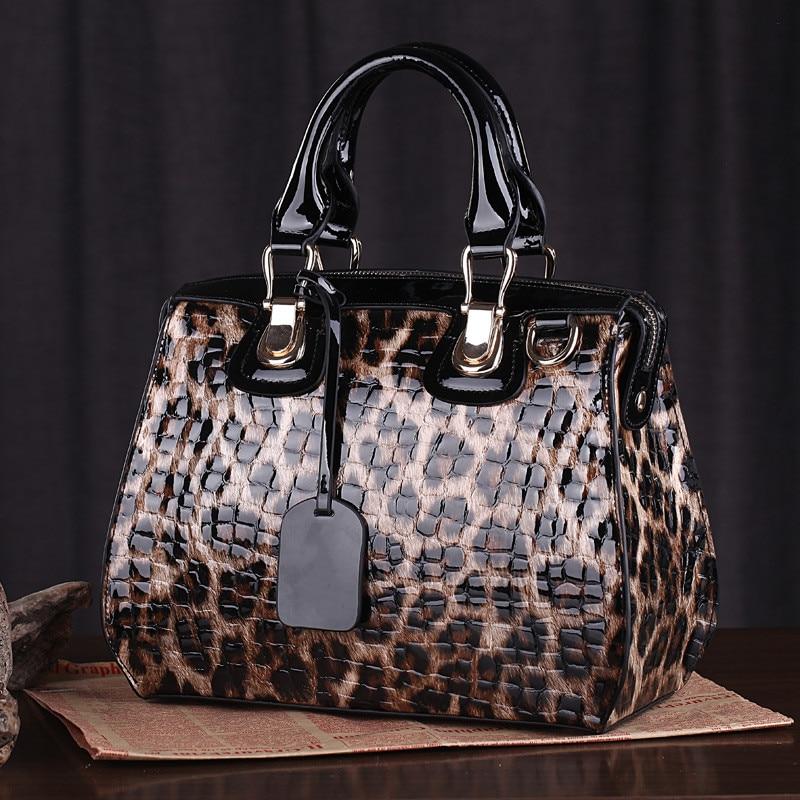 Image 4 - ファッションヒョウ柄革女性ハンドバッグバッグ牛革ビッグトートバッグレディースショルダーバッグ女性のメッセンジャーバッグ〜  13B316    グループ上の スーツケース