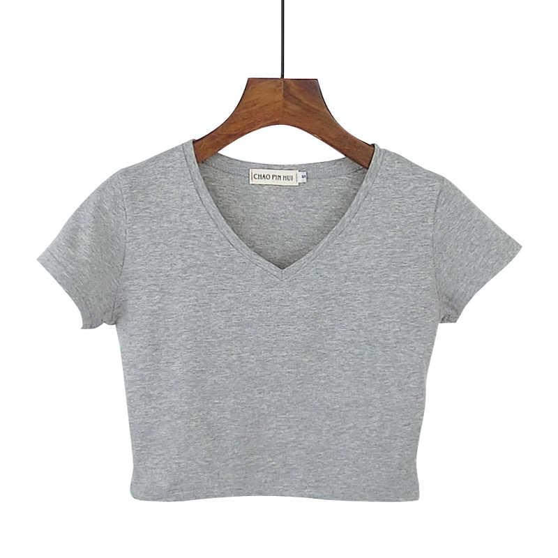 a87b2c0e26b ... 2019 New Sexy Women Summer Short Design V-neck Cotton T Shirt Female  Slim High ...