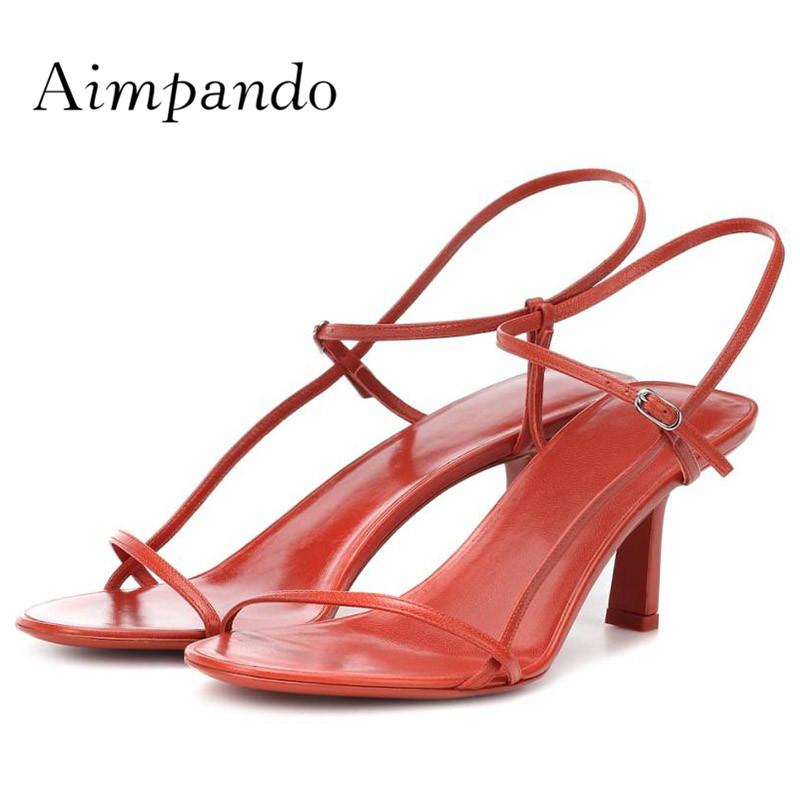 2019 Chic Gladiator Sandals Woman Open Toe Simple Design White Red Real Leather High Heel Shoes