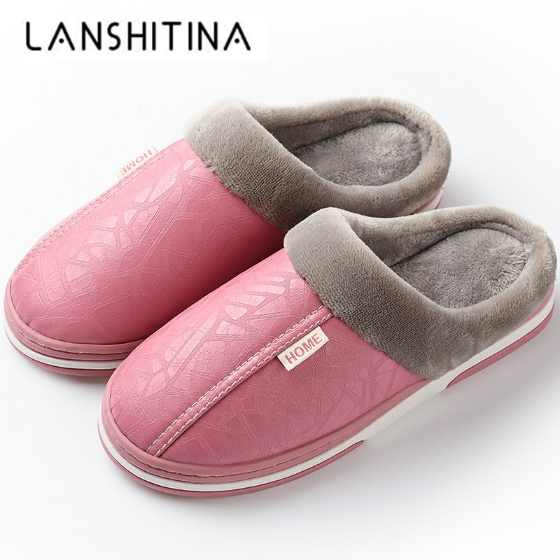2019 Women Winter Plush Slippers Non Slip Indoor For Slipper Leather House Shoes Waterproof Women Sewing Adult Warm Fur Shoes