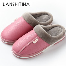 2019 Women Winter Plush Slippers Non Slip Indoor For Slipper Leather House Shoes Waterproof Women Sewing Adult Warm Fur Shoes цена и фото