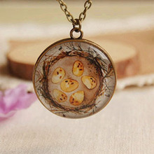 Bird Eggs House Necklace Long Bronzed Chain Tree of Life Back Antique Glass Jewelry XL040