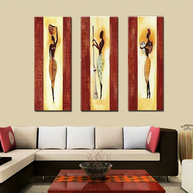 3 panneau peinture murale peint à la main abstraite Figure africaine peintures à l'huile sur toile décor à la maison Art afrique gens images Arts-in Peinture et calligraphie from Maison & Animalerie    1