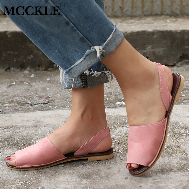 MCCKLE Summer Sandals Women Plus Size Flats Female Casual Peep Toe Shoes Faux Suede Slip On Elastic Band Leisure Solid Footwear mcckle summer casual flats women sneakers plus size cut outs slip on elastic band ladies loafers flock footwear female shoes