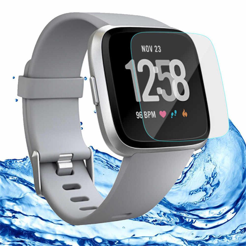 Hd vidro temperado tela lcd protetor filme 9 h para fitbit versa aptidão rastreador pulseira de fitness relógio atividade rastreador