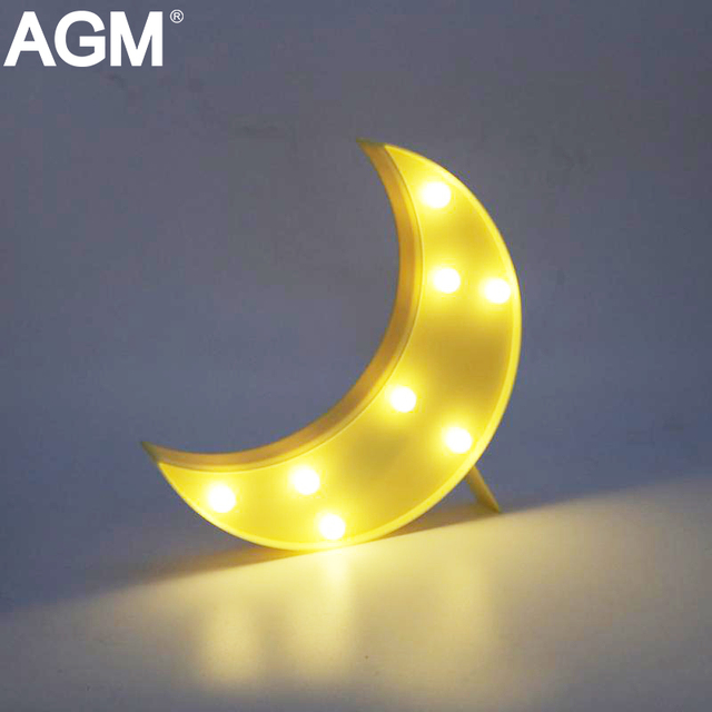 AGM Moon Light LED Night Light 3D Luna Moon Lamp Hanging Cute Marquee  Letter Nightlight For