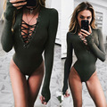 2016 New Sexy Lace Up Woman Bodysuits Autumn Full Sleeve Quality Skinny Woman Jumpsuits Fashion V-neck Belts Female Romper