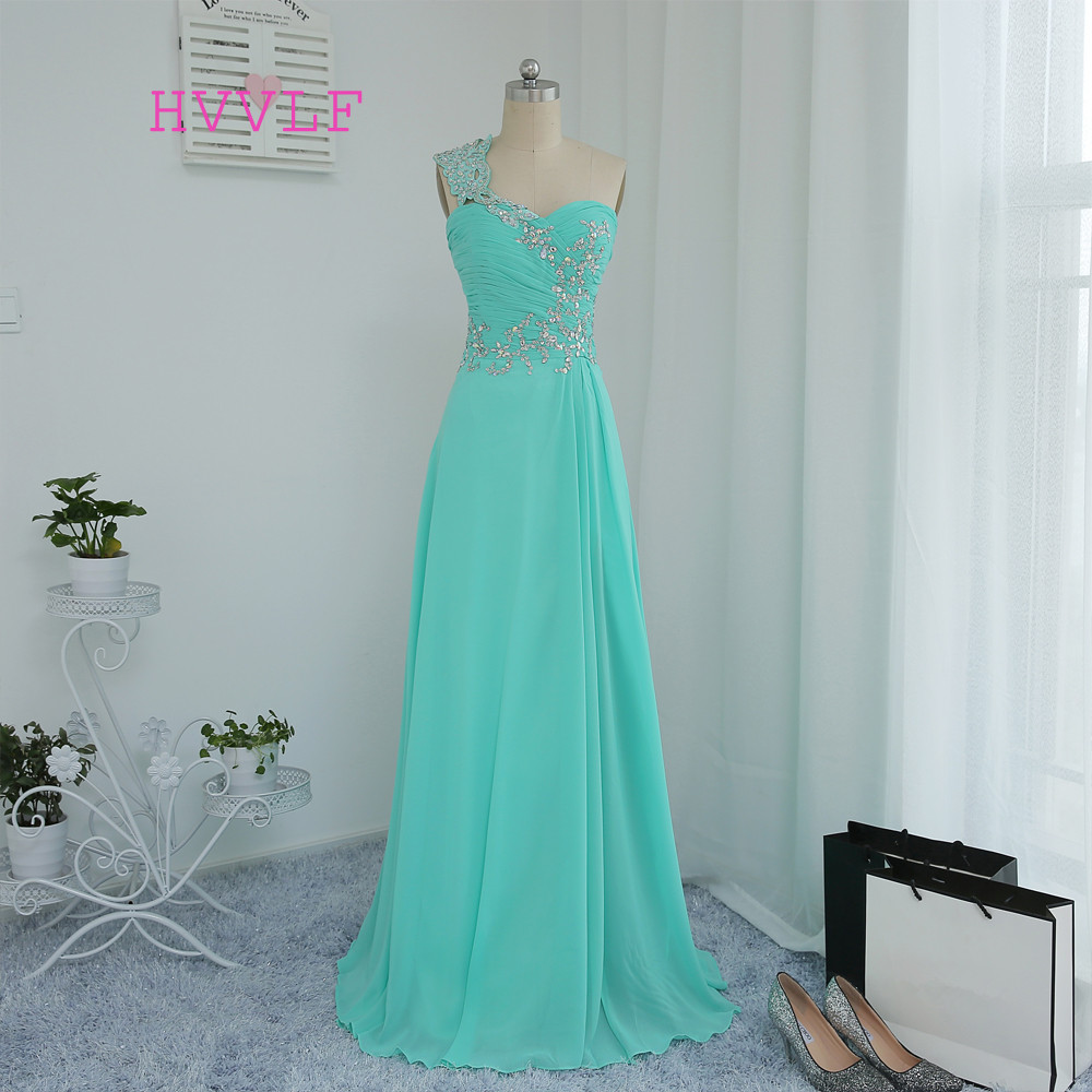 Mint Green 2019 Prom Dresses A-line One-shoulder Chiffon Beaded Crystals Long Prom Gown Evening Dresses Evening Gown
