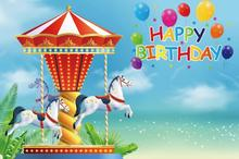 Laeacco Balloons Carousel Birthday Party Amusement Poster Baby Portrait Photo Backdrops Photographic Backgrounds Photo Studio