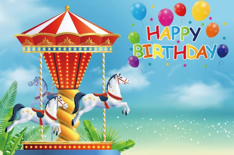 Laeacco Balloons Carousel Birthday Party Blue Sky Child Portrait Photography Backdrops Photographic Backgrounds Photo Studio