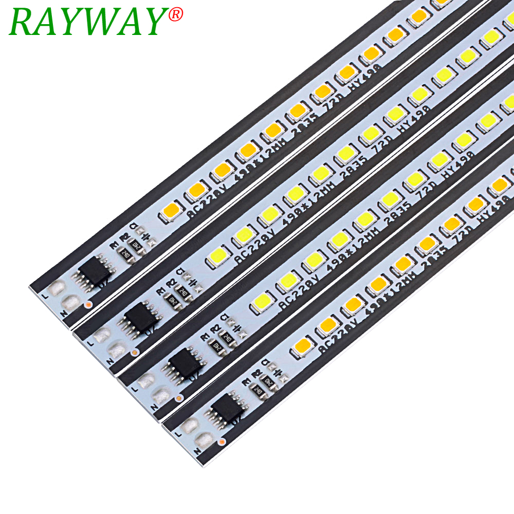 Kitchen Light AC220V SMD2835 50cm Dimmable Aluminium Profile  LED Bar Lights Hard Strip Lamp For The Cabinet