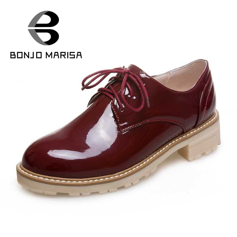 BONJOMARISA Women British Style Oxfords Vintage Lace Up Chunky Round Toe Platform Spring Autumn Shoes For Woman Big Size 34-43 new 2015 autumn flat t strap oxford shoes for women vintage british style round toe low thick heels women oxfords shoes woman