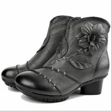 2017 High Quality Mujer Chaussure Women Genuine Leather Boots Casual Ladies Handmade Women Ankle Boots Fur Snow boots B1876
