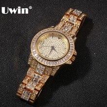 UWIN Nieuwe Mannen Vrouwen Gouden Kleur Quartz Horloge Fashion Horloge Top Merk Stalen Band Armband Horloge Waterdicht Iced Out Horloge