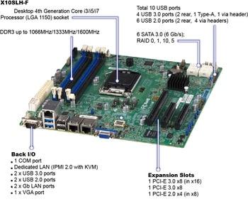 OEM X10SLH-F single server motherboard 1150-pin C226 chipset dual Gigabit Ethernet 6 * SATA3 integrated IPMI