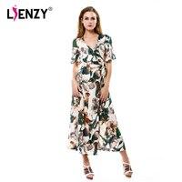 LIENZY Summer Elegant Women Floral Maxi Dress Short Sleeve Deep V Neck High Waist Green Leaf