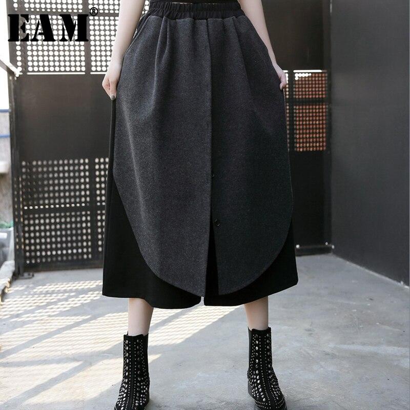 [EAM] 2018 Новый осень-зима черные высокие эластичные талия лоскутные свободные девять точки широкие брюки Для женщин мода прилив JH488
