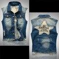 Projetos de Patch Ripped Denim Colete Sem Mangas dos homens Homem Casual Impresso Jaqueta Jeans Colete Slim Fit M-5XL