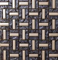 Deep Gray Strip Stain Glass Mixed Stainless Steel For Kitchen Backsplash Tile Bathroom Shower Mosaic Tiles