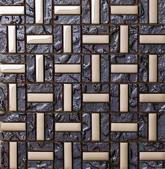 Stainless Steel Pattern Gray Glass Mosaic Tile: Deep Gray Strip Stain Glass Mixed Stainless Steel For