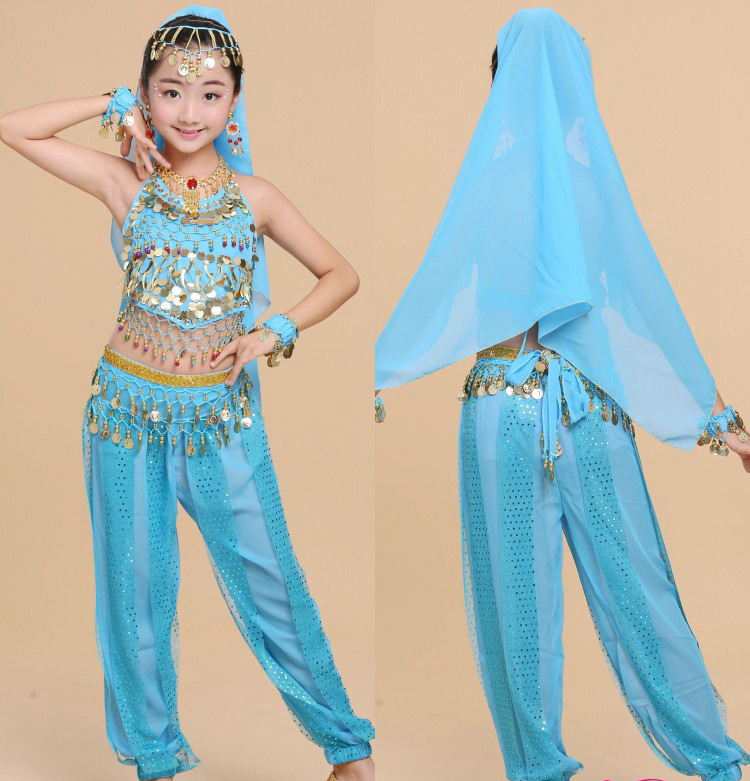4pcs/lot Handmade Children Belly Dance Costumes Kids Belly Dancing Girls Bollywood Indian Performance Cloth Whole Set 4 Colors