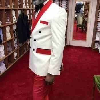 Chaqueta De Esmoquin Roja | Hecho A Medida Caballeros Novio Smoking Chal Rojo Solapa De Satén Hombres Trajes 2 Piezas Boda Padrino Hombre (chaqueta + Pantalones + Corbata) C613