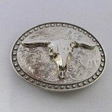 Cowboy-Belt-Buckle Wideth-Belt Western Suitable Metal with Cool 3D Sliver Bulls Buckles