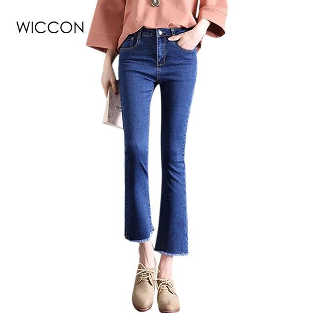 aa42772b42ef US $16.94 5% OFF|Frühling 2018 Ausgestelltes stretch jeans frauen denim  bell bottom hose dünne jeans weibliche breite bein frauen denim hosen  WICCON ...