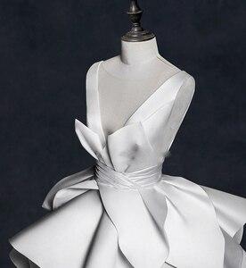 Image 3 - Vintage 2018 Wedding Dresses Ruffles Ruched Elegant Bridal Gowns V neck Backless High End  Wedding Gowns Vestido De Noiva
