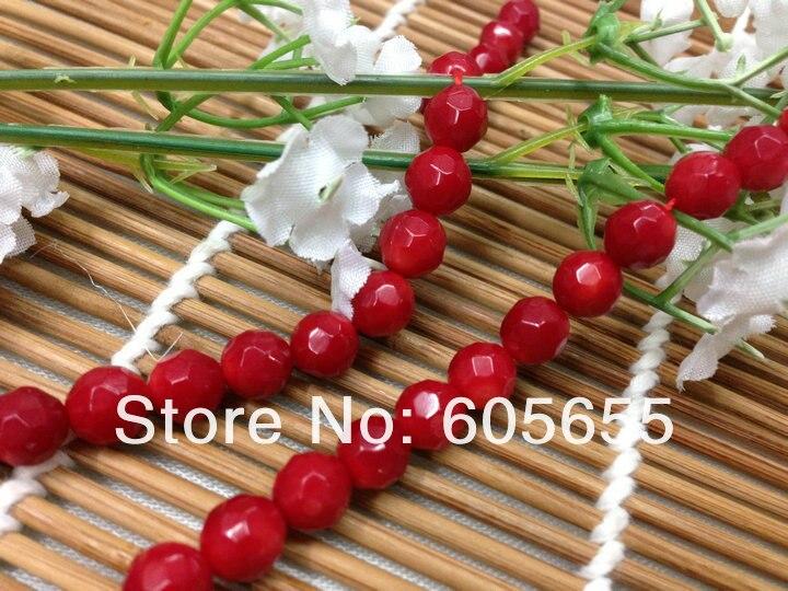 Красного цвета 6 мм Грановитая море бамбук Коралл круглый свободные Бусины расходных материалов для изготовления ювелирных изделий 5 пряди за лот