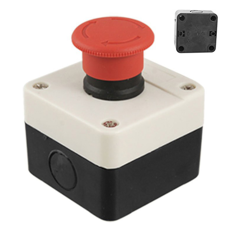 BHBD-Red Sign Mushroom Emergency Stop Push Button Switch Station 1 NC Normally Closed onpow 16mm red led light 1no1nc plastic emergency stop push button switch las1 by 11tsa r 12v ip40 ce ul rohs