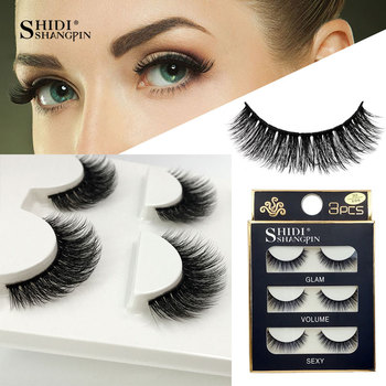 3 Pairs natural false eyelashes thick makeup real 3d mink lashes soft eyelash extension fake eye lashes long mink eyelashes 3d 1