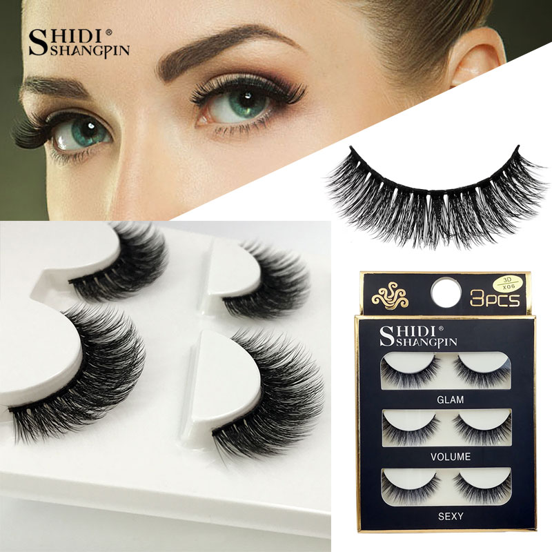 76b87af4899 3 Pairs natural false eyelashes thick makeup real 3d mink lashes soft  eyelash extension fake eye