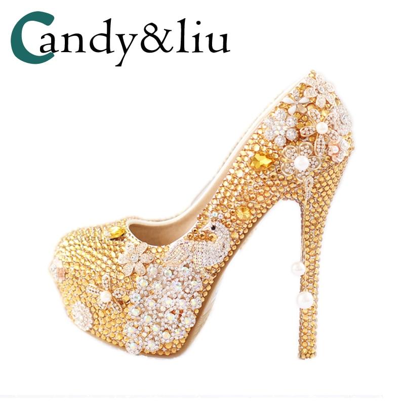 Golden Phoenix pearl gold yellow diamond bride shoes tassel pendant single waterproof pumps wedding shoes heels 03 red gold bride wedding hair tiaras ancient chinese empress hat bride hair piece