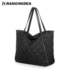 Women Tote Bag Space Cotton Handbags Down Feather Padded Shoulder Bags Large Capacity Winter Nylon Lattice Warm Bag(China)