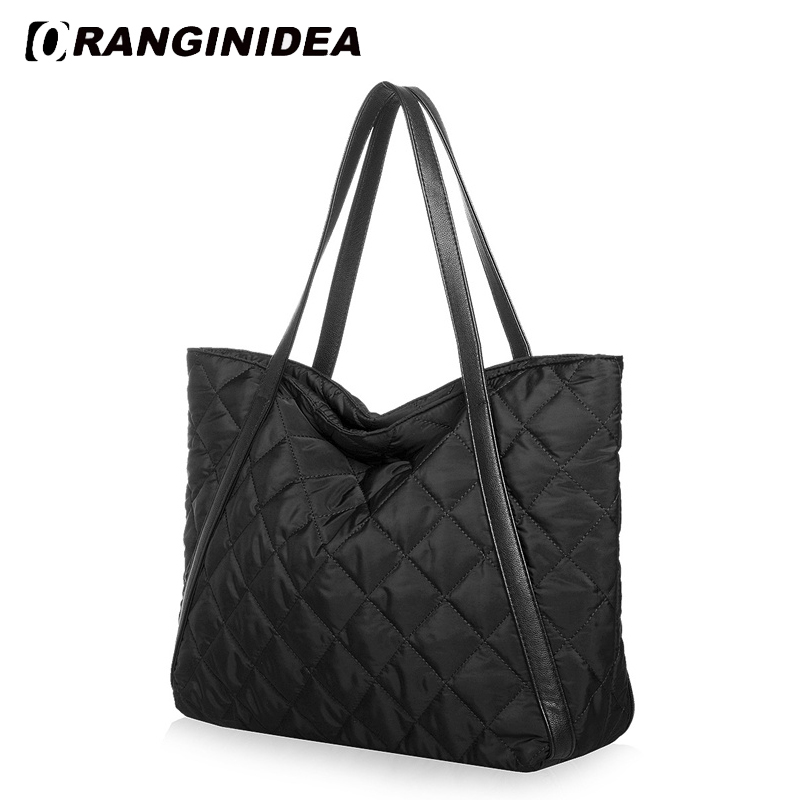 Women Tote Bag Space Cotton Handbags Down Feather Padded Shoulder Bags Large Capacity Winter Nylon Lattice Warm Bag