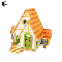 Free Shipping Kids DIY Wood 3D House Puzzle Model Building Kits Wooden Toys Educational HT241