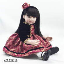 22 inch 55 cm reborn  Silicone dolls, lifelike doll reborn babies toys Black coat beautiful girl