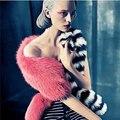 Подиум впп стиль женщин 190 см реального лиса шарф дамы роскошные 100% природных лисий мех кабо полосатые шарфы хвост