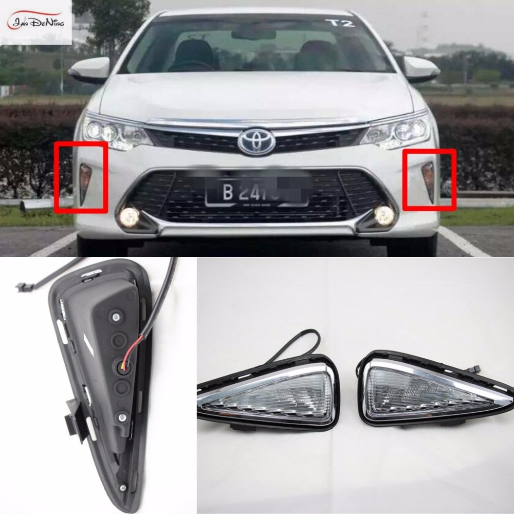 JanDeNing LED Daytime Running Light Driving Lights DRL Replacement Kit For Toyota Camry 2015-2016 With Turn Signal tcart 2x auto led light daytime running lights turn signals for toyota prius highlander for prado camry corolla t20 wy21w 7440