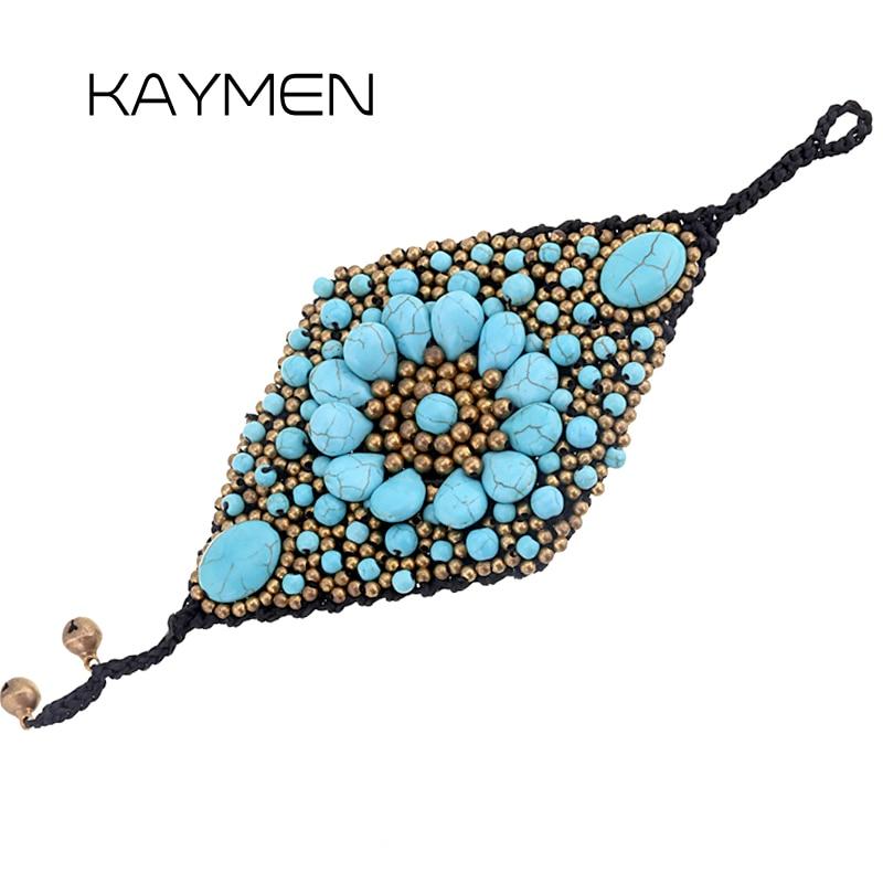 bfdab1b27858 Nuevo brazalete de pulsera de cristal tejido de lujo Especial, pulsera de  Rammel de piedra Natural ...