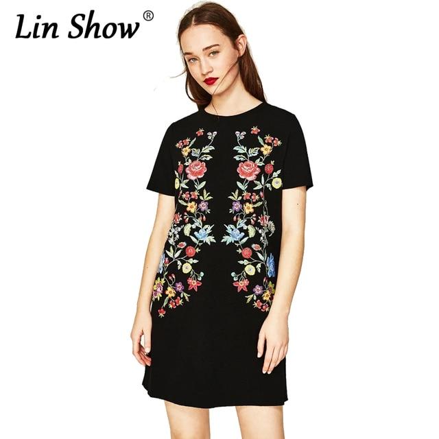 110aa46b604b5e LINSHOW Print Bloemen Solid Zomerjurk 2017 Korte Mouw O-hals Wit Vrouwen  Jurk Vintage Casual