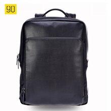 Xiaomi 90 puntos los hombres mochila de alta calidad de cuero de la pu 14 pulgadas ordenador portátil de viaje ocasional moda mochila bolsa de la escuela de negocios negro