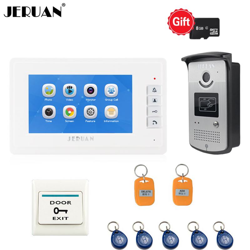 JERUAN 7 inch LCD Color Screen Video Doorphone Record Intercom System 1 White Monitor + Access RFID Camera 8GB TF CARD