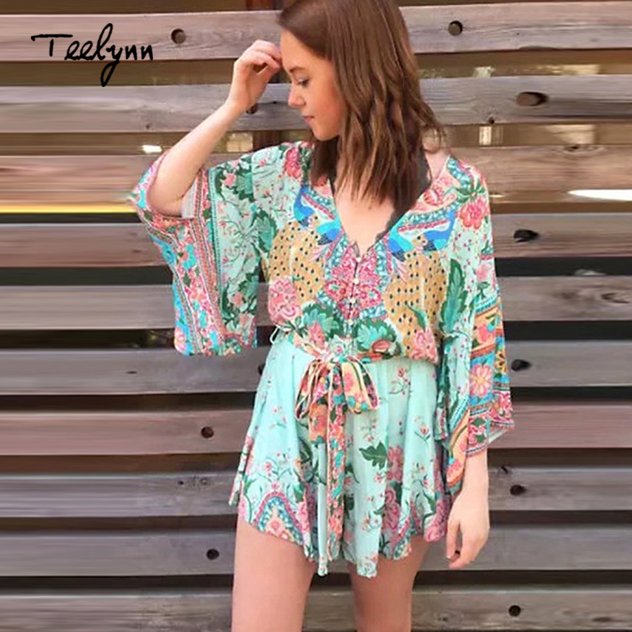 Floral Print boho Women Playsuits 2018 V Neck sexy backles Kimono sleeve Summer jumpsuit romper chic beach wear Ladies jumpsuit