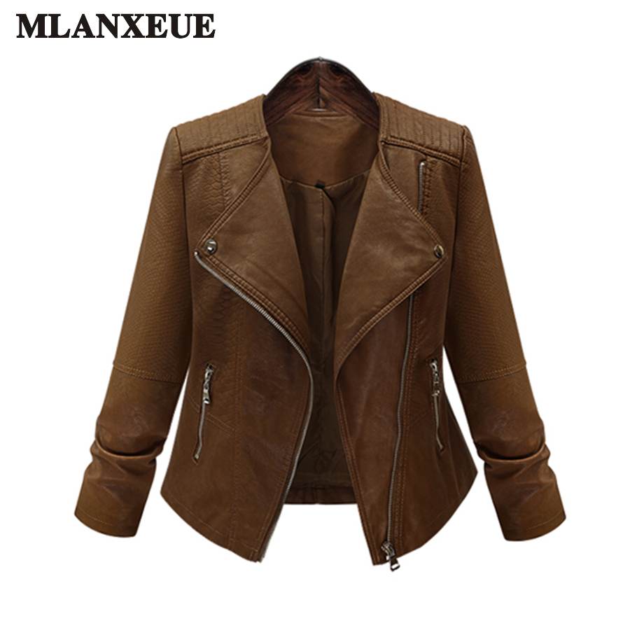 Large Size Ladies Coat 2018 Faux   Leather   Jackets Lady Brown Matte Motorcycle Biker Zippers Coats Sexy Outerwear Autumn Jacket