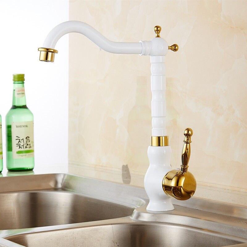 Homedec Antique cuisine Bar salle de bain évier robinet laiton blanc et or bec mitigeur