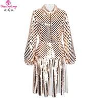 Yuxinfeng платье с длинными рукавами и блестками для женщин, модное платье с отложным воротником для подиума, элегантные сексуальные короткие п